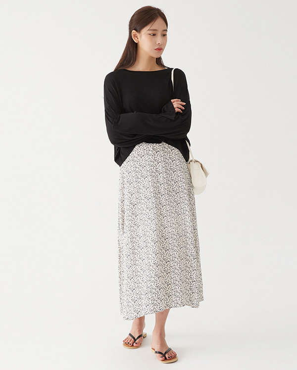 flower long flare skirt