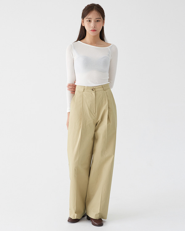 pocket long wide pants (s, m)