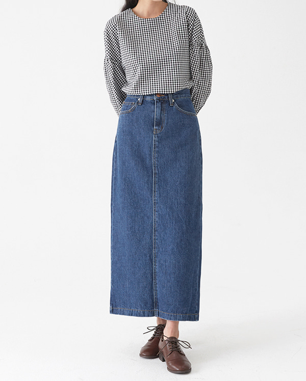lounge denim long skirt (s, m, l)