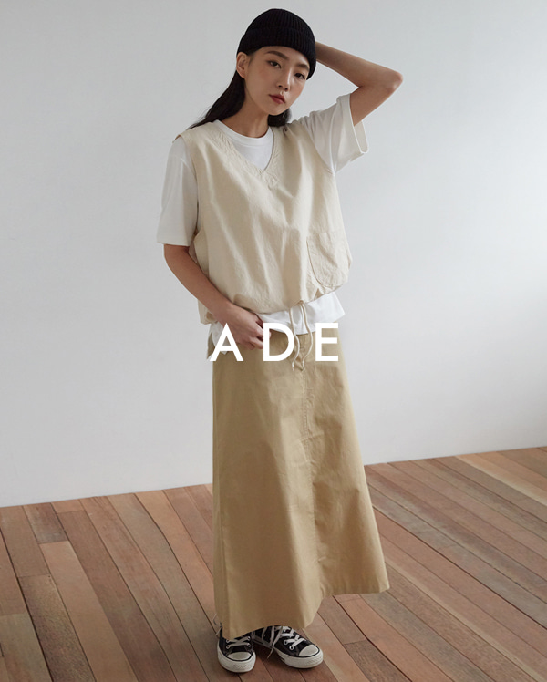 cotton long A-line skirt (s, m)