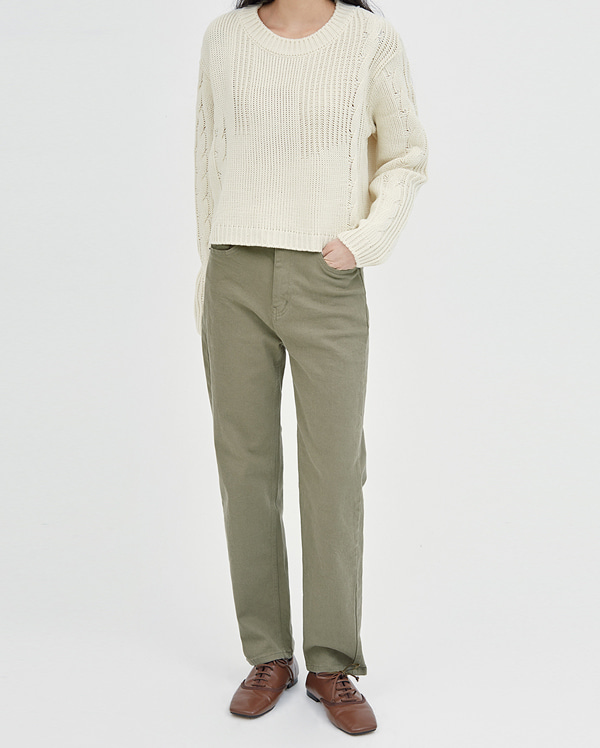 ludia straight cotton pants (s, m, l)