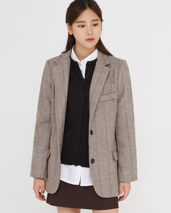 a check line wool jacket