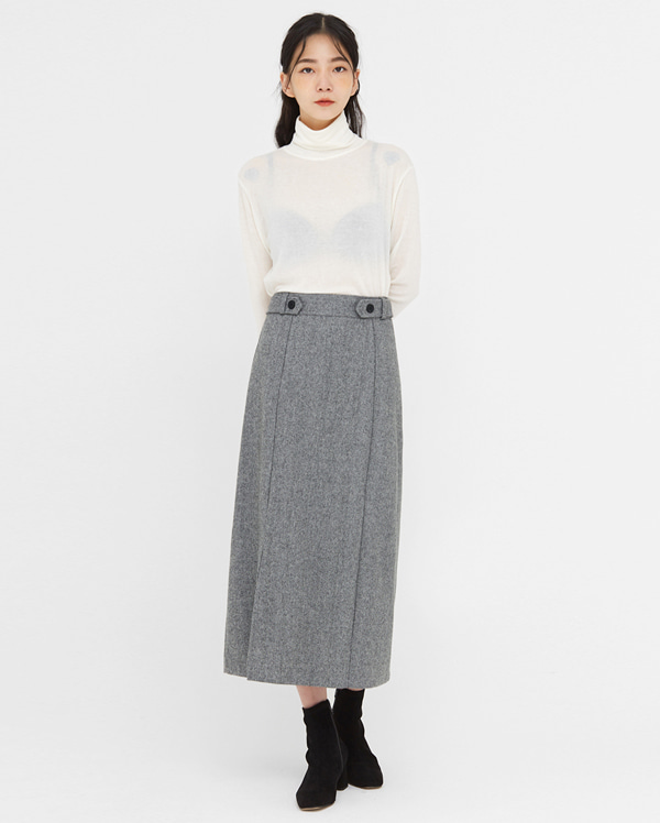 herringbone buckle wool slit skirt