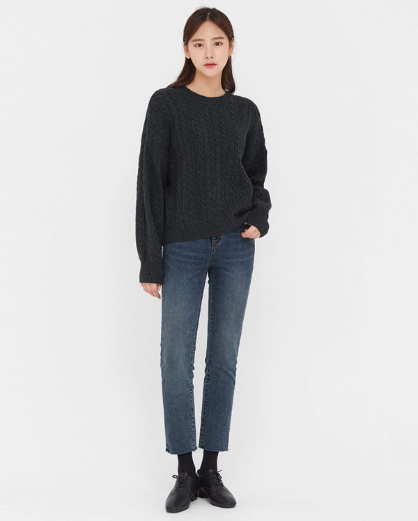 zip lambswool cable knit