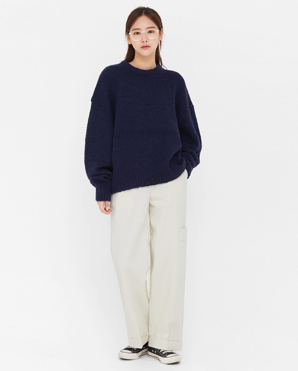 a in wool round boxy knit