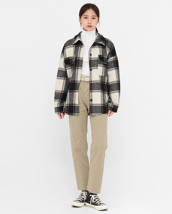mas check wool overfit shirts