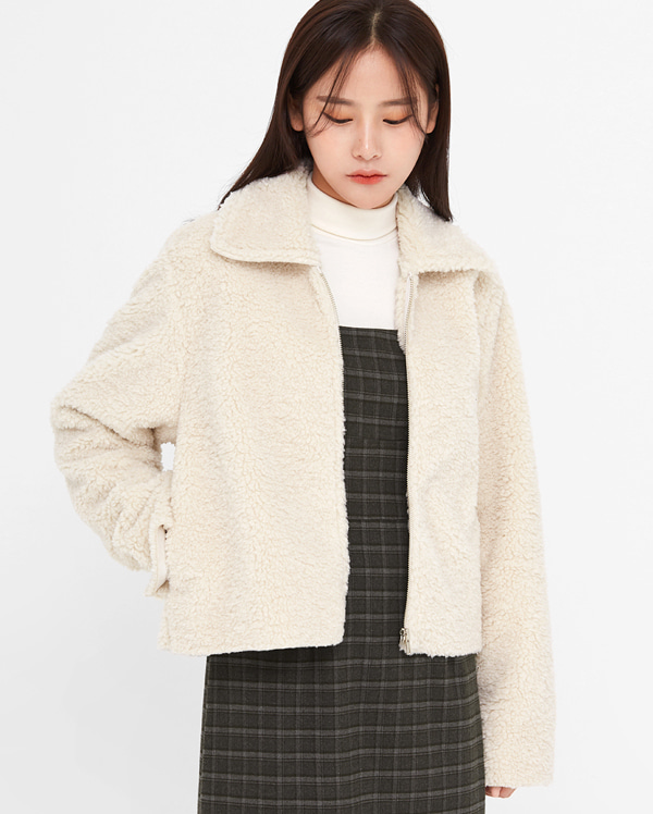 unzip shearling fur jumper