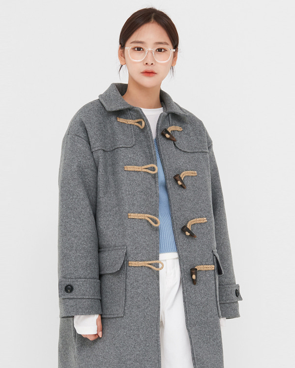 anne wool long duffle coat