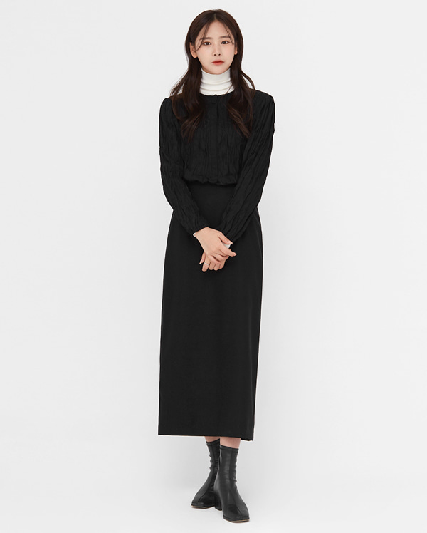 tender wool long slit skirt (s, m)