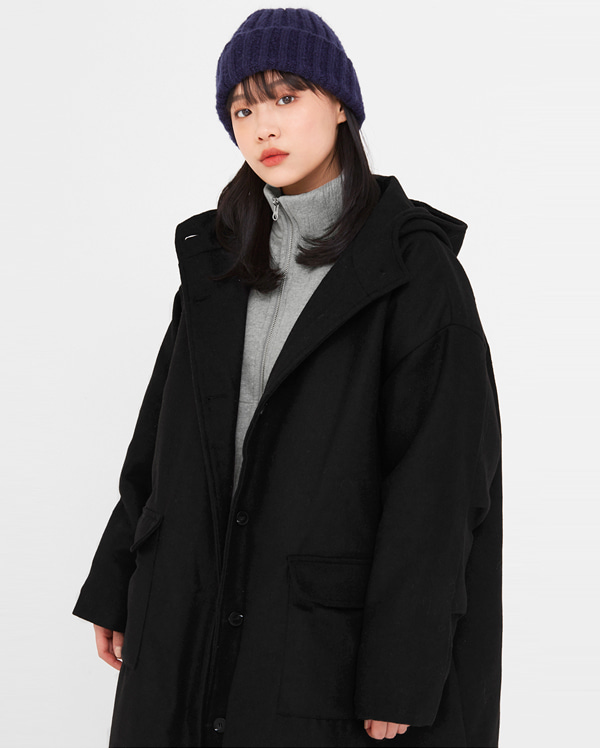 a casual napping wool hoody coat