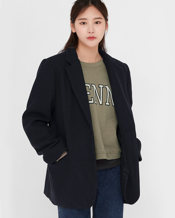 sense napping single wool jacket